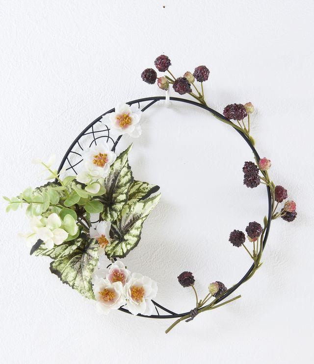 【造花 アーティフィシャルフラワー・オリジナルワイヤーベース壁掛けアレンジメント】アニー