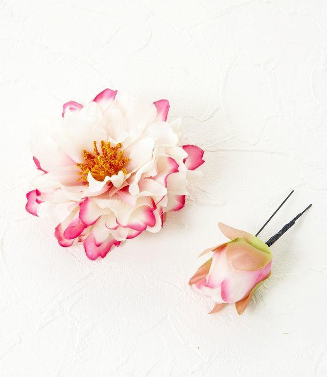 【コサージュ&髪飾り・2WAYタイプUピンセット】リトルピオニー/ピンクホワイト