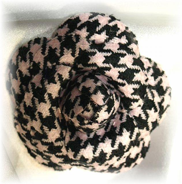 コサージュ&髪飾り(両用タイプ)(カメリア/ピンク&ブラック)