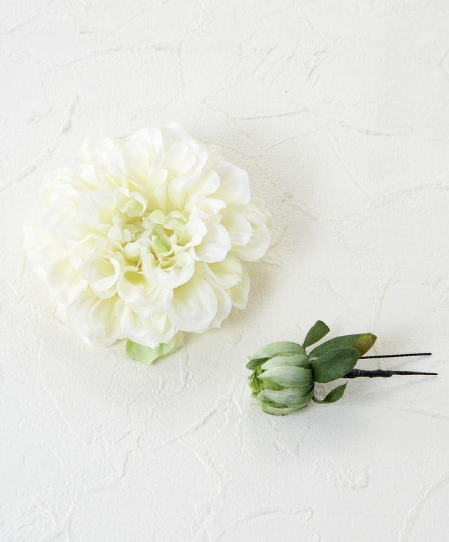 【コサージュ&髪飾り・2WAYタイプ】シャンメリーダリア/ホワイト