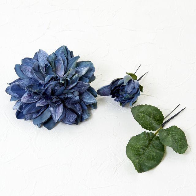 【コサージュ&髪飾り・2WAYタイプ】サマルクダリア/ブルー