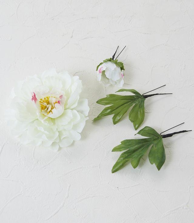 【コサージュ&髪飾り・2WAYタイプ】白牡丹/3点セット