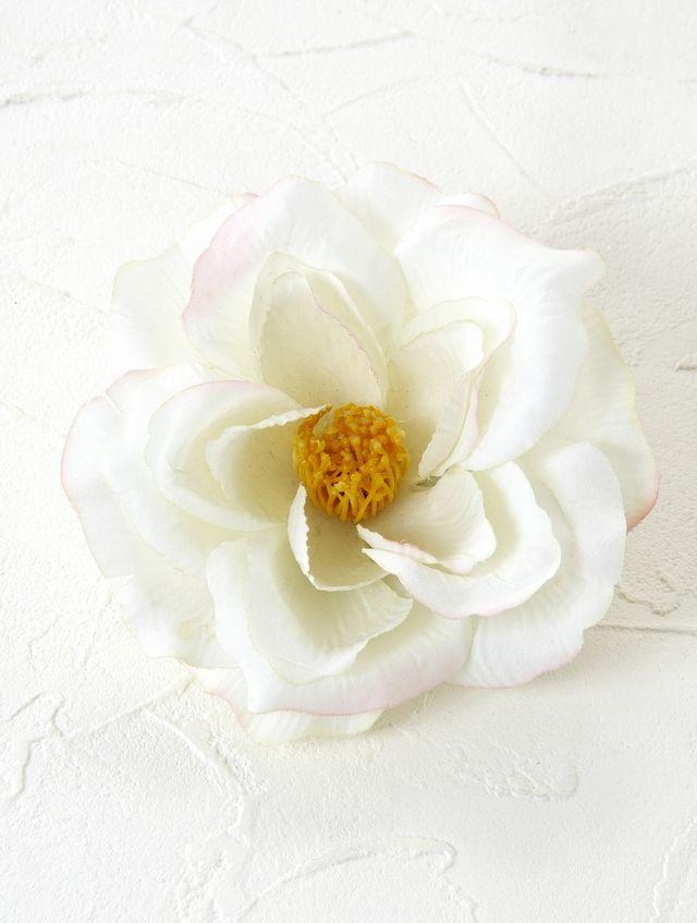 コサージュ&髪飾り(両用タイプ)(ホワイトローズ)