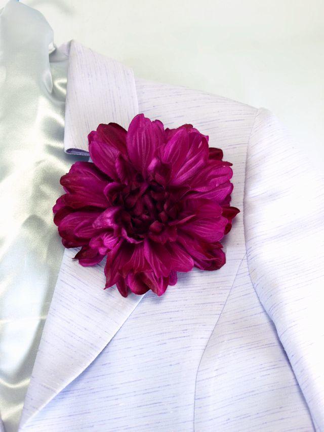 【コサージュ&髪飾り・2WAYタイプ】ブライトダリア/ワインパープル