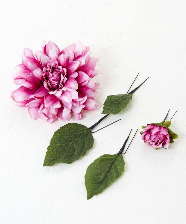 コサージュ&髪飾り(両用タイプ)(ラファエルダリア/ピンクワイン)