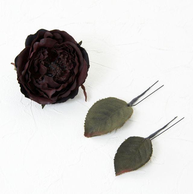 【コサージュ&髪飾り・2WAYタイプ】ショコラローズ/3本セット