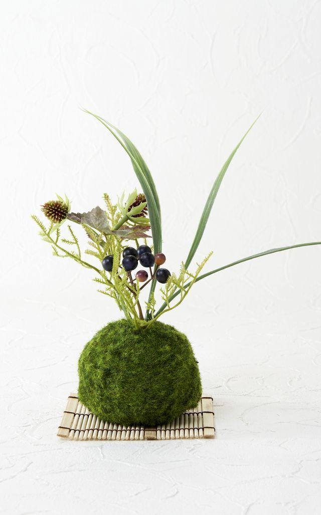 【造花 観葉植物 インテリアグリーン】こけ玉 ジャパーニーズモダンD(下皿付き)