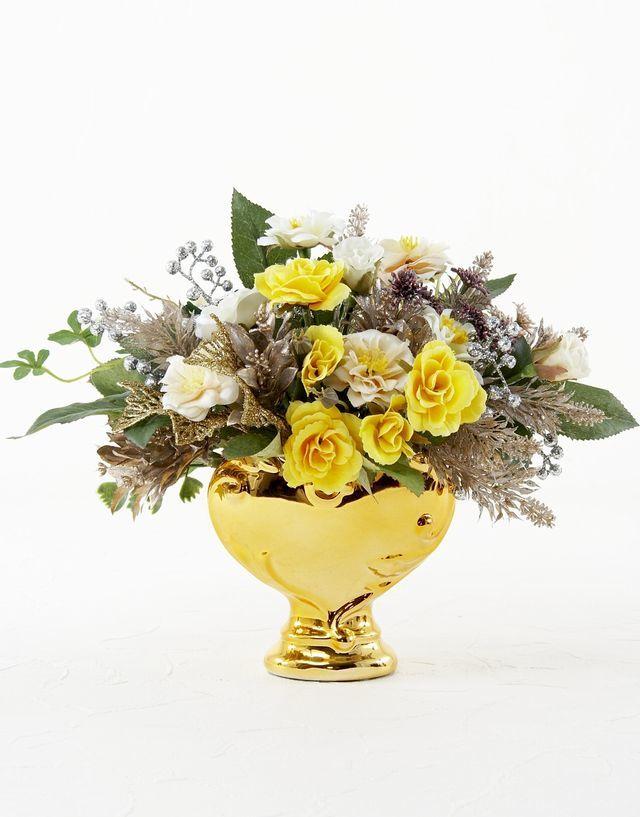 【造花・アートフラワーアレンジメント】シャイニングイエロー