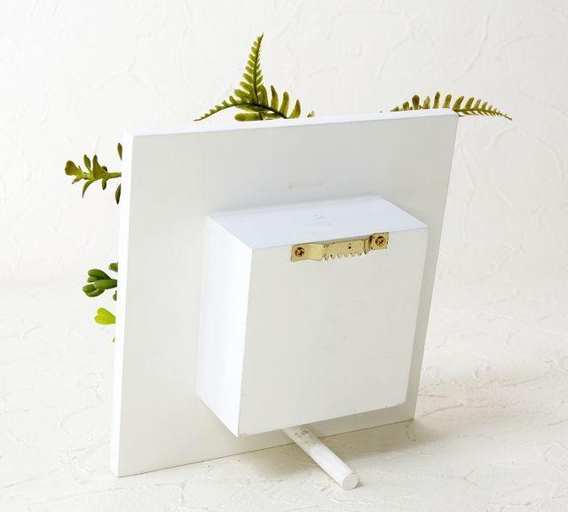 【ホワイトスクエアフレーム 造花インテリアグリーン】キャンパス・グリーン-Mサイズ