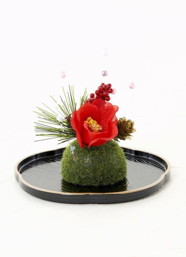 【造花・お正月向け・苔玉アレンジメント】赤椿