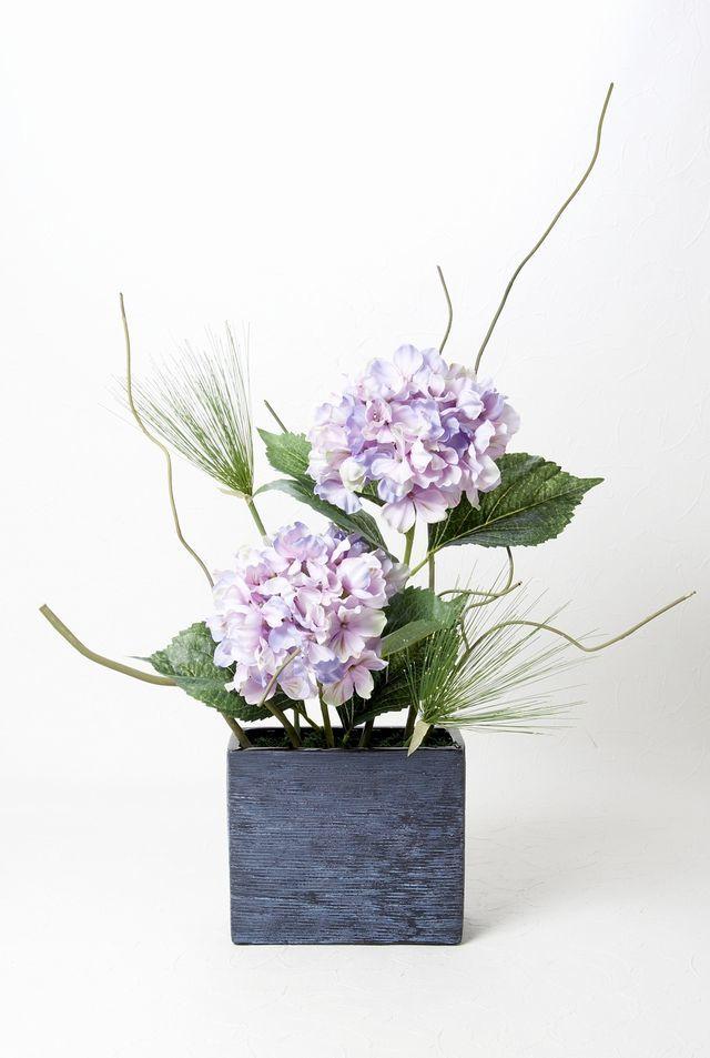 【造花・和モダン・和風アレンジメント】紫陽花とパピルスのジャパニーズモダンアレンジメント