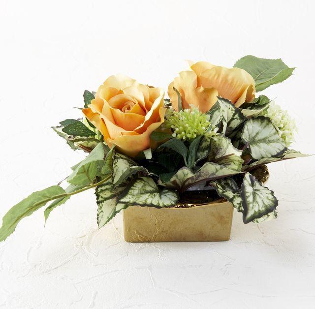 【造花・アーティフィシャルフラワー・アートフラワー】オレンジローズのアレンジメント