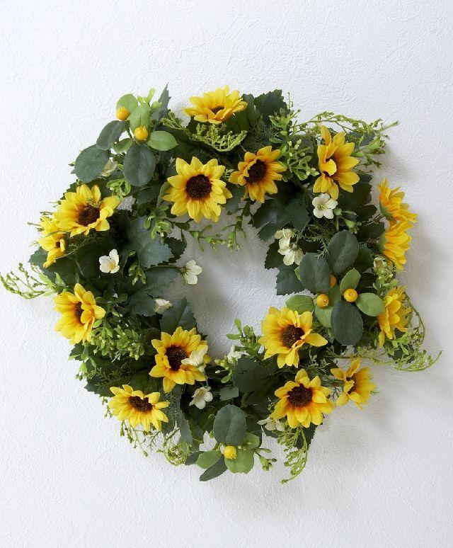 【造花・アーティフィシャル/サンフラワーリース】ひまわり・リース