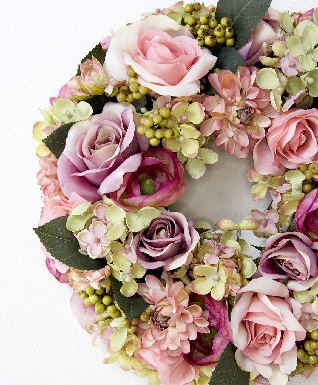 【造花・アーティフィシャルフラワーリース】ローズロイヤルフローラルリース /ローズピンク