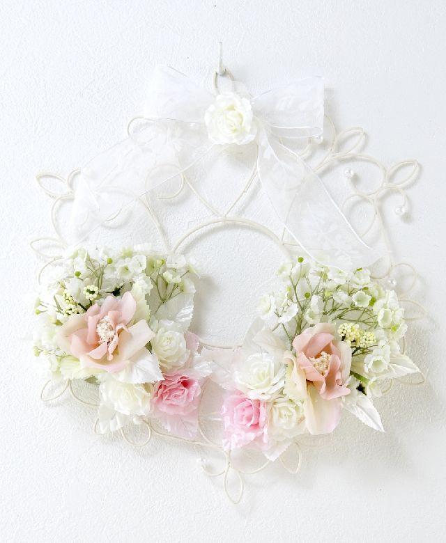 【造花 アーティフィシャルフラワー・オリジナルワイヤーベースリース】フランソワーズ