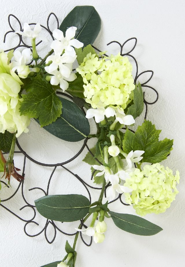 【造花 アーティフィシャルフラワー・オリジナルワイヤーベースリース】ステイシー