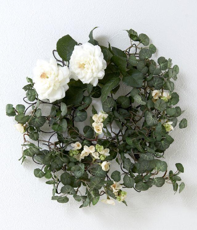 【造花 アーティフィシャルフラワー・オリジナルワイヤーベースリース】ウェンディ