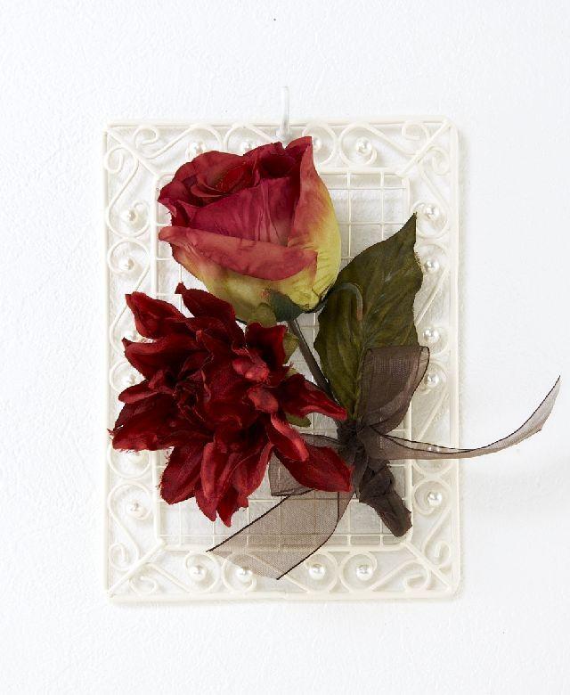 【造花 アーティフィシャルフラワー・オリジナルワイヤーベース壁掛けアレンジメント】セアラ