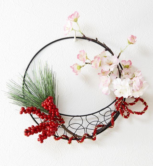 【造花 アーティフィシャルフラワー・オリジナルワイヤーベース壁掛けアレンジメント】ブランシュ