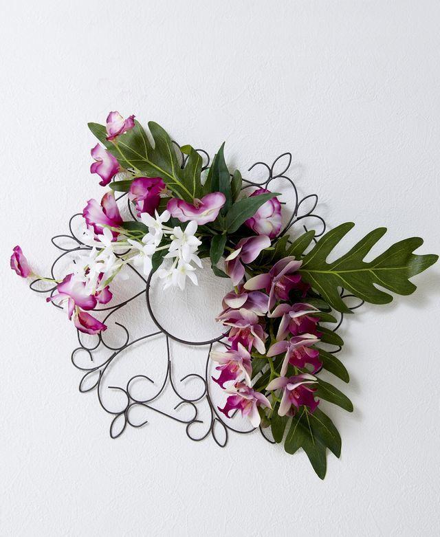 【造花 アーティフィシャルフラワー・オリジナルワイヤーベース壁掛けアレンジメント】セオドーラ