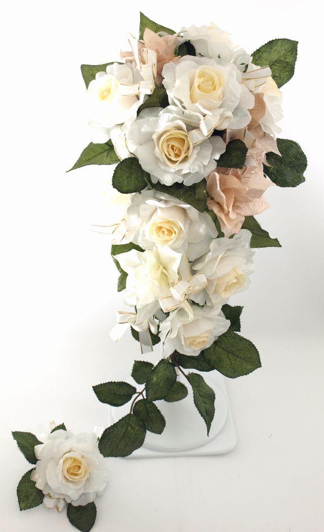 【造花ブーケ】お姫様ブーケ・ホワイト(ミディアムキャスケード)