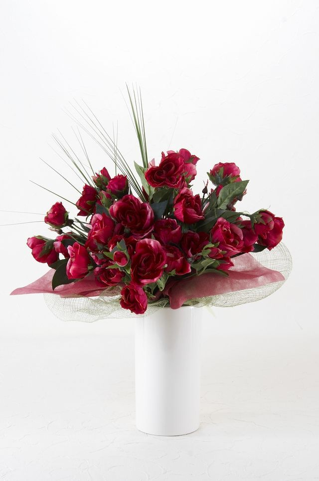 【造花用花器】ホワイトスリムフラワーベースM/白
