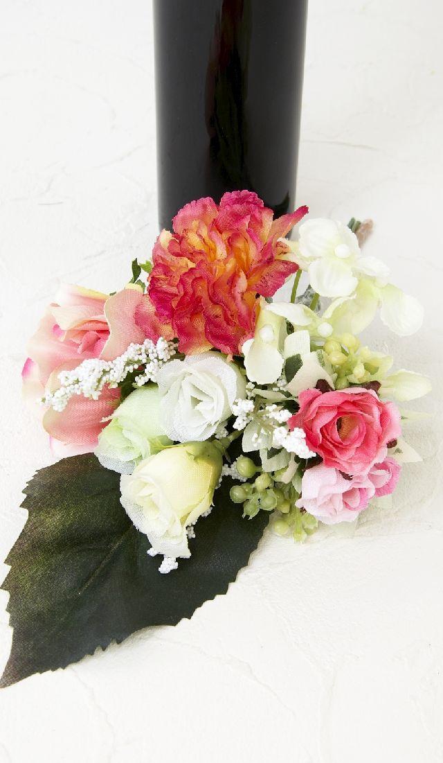 【造花 ミニ供花】カーネーション&アネモネのミニ仏花セット(左右1対)