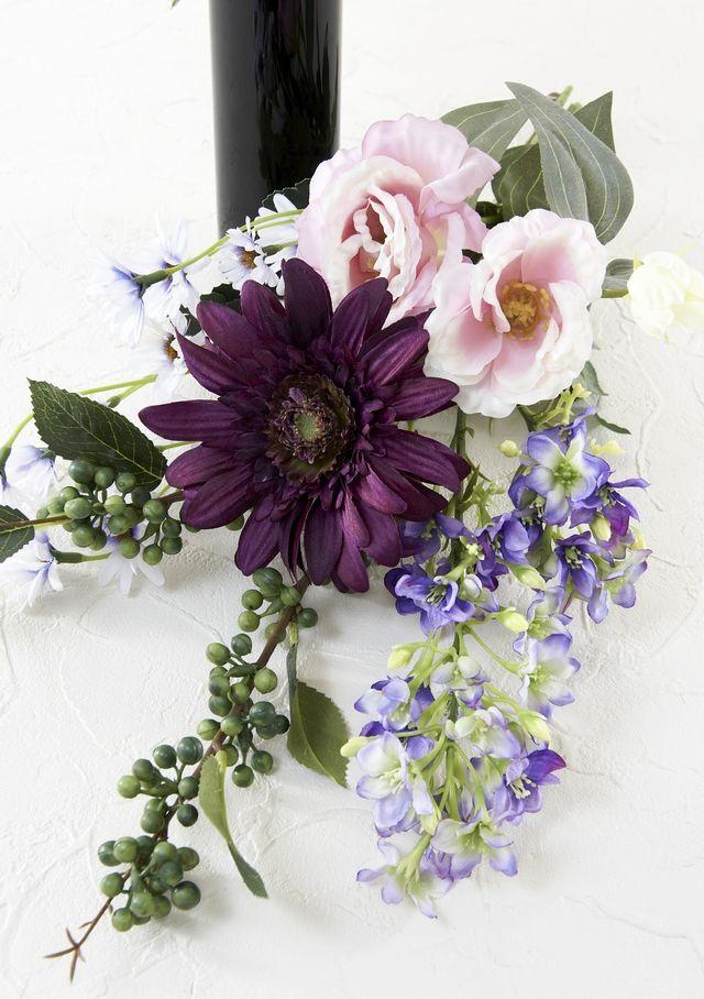 【造花の仏花・供花】ガーベラ&トルコキキョウの供花(左右1対セット)