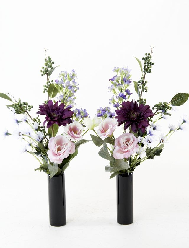 【造花 供花】トルコキキョウと小菊のシンプルミニ仏花セット(左右1対)