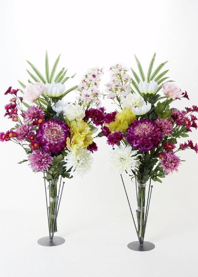 【造花 ミニ供花】リシアンサス&リリーのミニ仏花セット(左右1対)