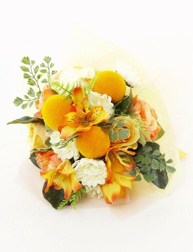 【造花花束&トスブーケ/2wayタイプ】薔薇とアルストロメリアのブーケ/オレンジ