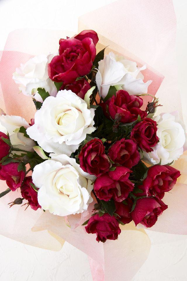 【贈答・贈呈用・ギフトの造花花束】ナチュラルローズブーケ