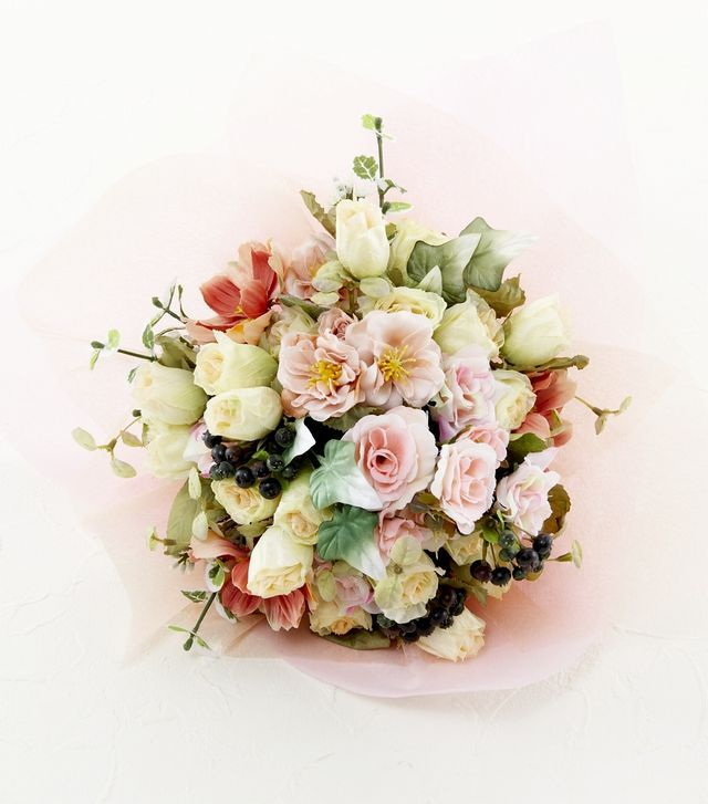 【造花花束&トスブーケ/2wayタイプ】ローズと小花たちのブーケ/ミルキーピンク