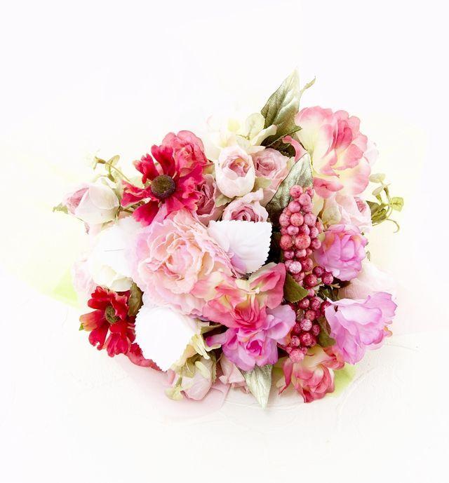 【造花花束&トスブーケ/2wayタイプ】バラと小花ブーケ/ビューティーピンク