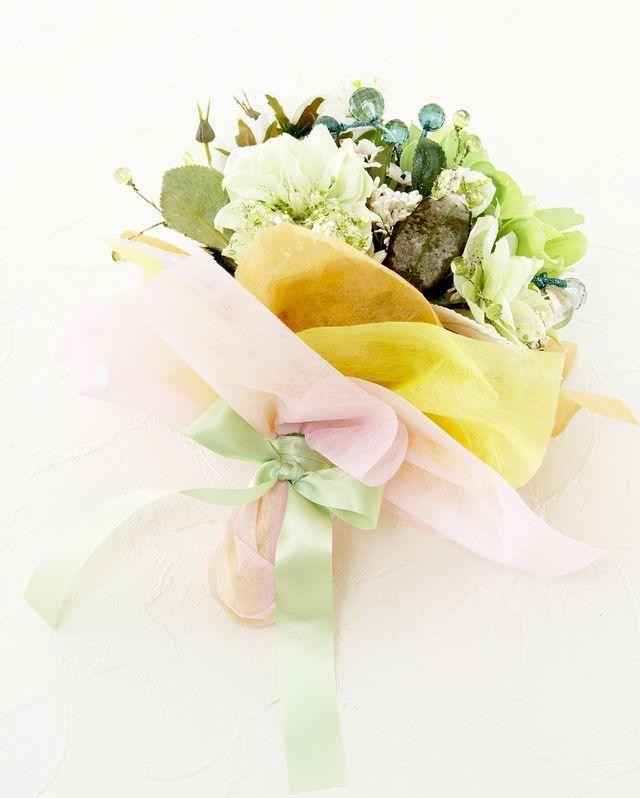 【造花花束&トスブーケ/2wayタイプ】ダリアとバラ&小花のブーケ/エメラルドグリーン