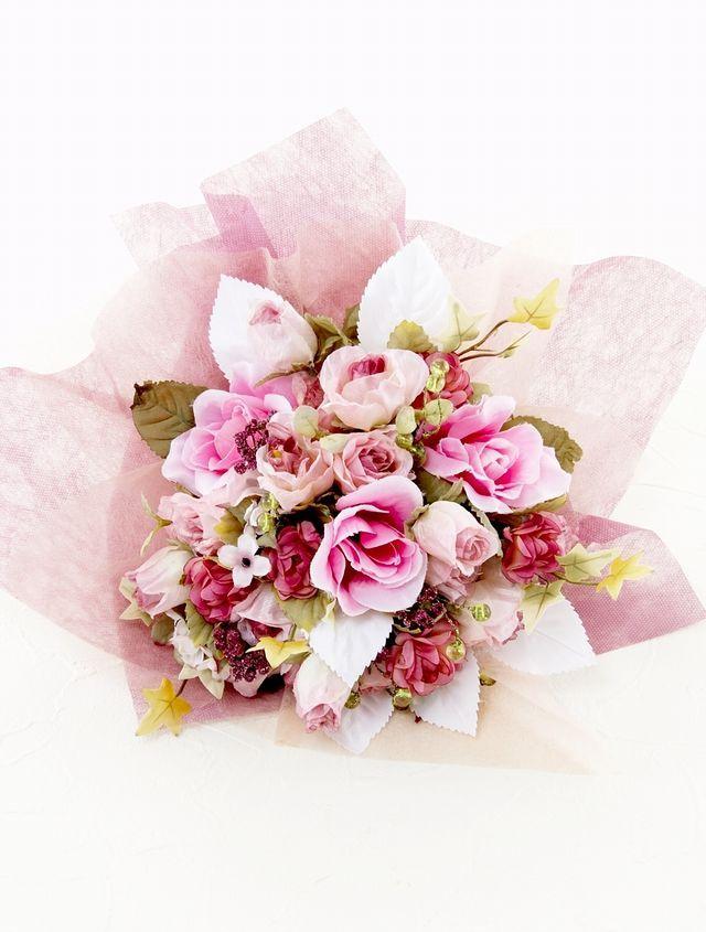 【造花花束&トスブーケ/2wayタイプ】バラと小花たちのブーケ/ローズピンク