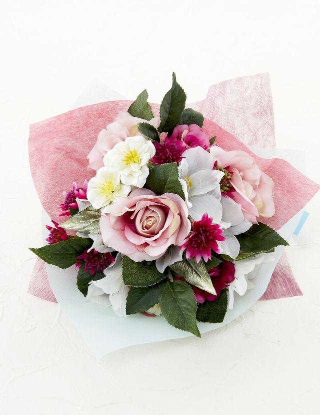 【造花花束&トスブーケ/2wayタイプ】バラと小花のブーケ/エレガンスピンク
