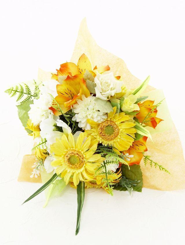 【造花花束&トスブーケ/2wayタイプ】ガーベラとアルストロメリアのブーケ/ビタミンイエロー