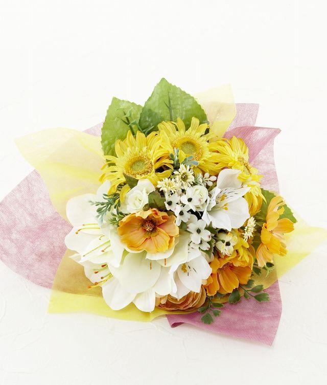 【造花花束&トスブーケ/2wayタイプ】ガーベラとアマリリスのブーケ/フレッシュイエロー