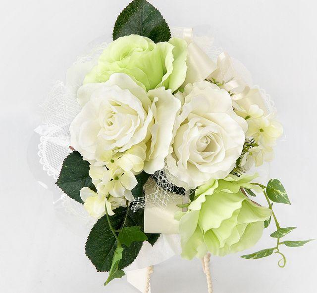 【造花花束】ジュリエットロゼブーケ/ホワイトグリーン