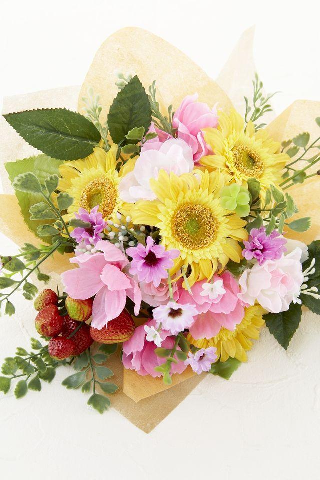 【造花花束&トスブーケ/2wayタイプ】ガーベラ&デイジーのストロベリーミックスブーケ