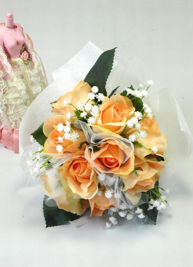 【造花 トスブーケ】ビューティーローズブーケ/ピーチオレンジ
