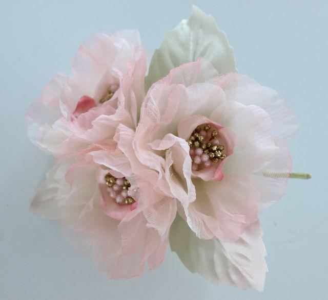【アートフラワー・染花 コサージュ】ローゼのコサージュ(ピンク)