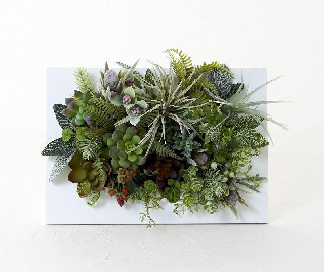 【ホワイトスクエアフレーム 造花インテリアグリーン】葉踊彩々-LLサイズ