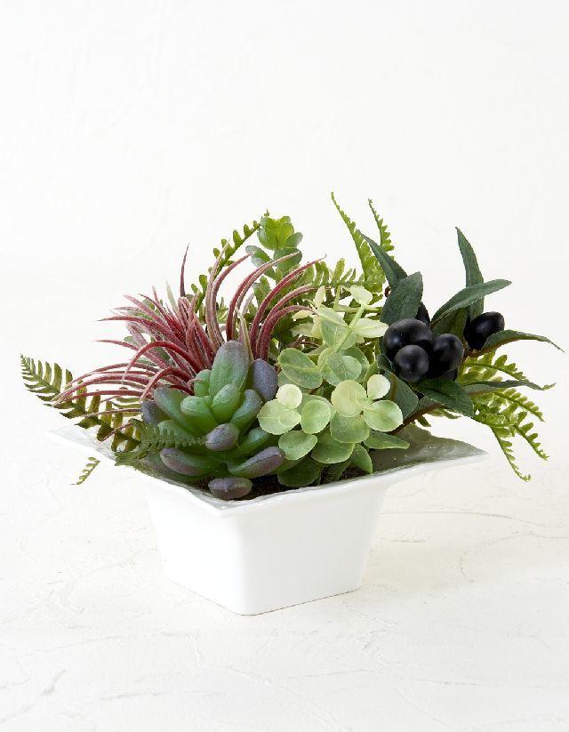 【造花・ナチュラルグリーン・多肉植物・】wild grass arrangement -D