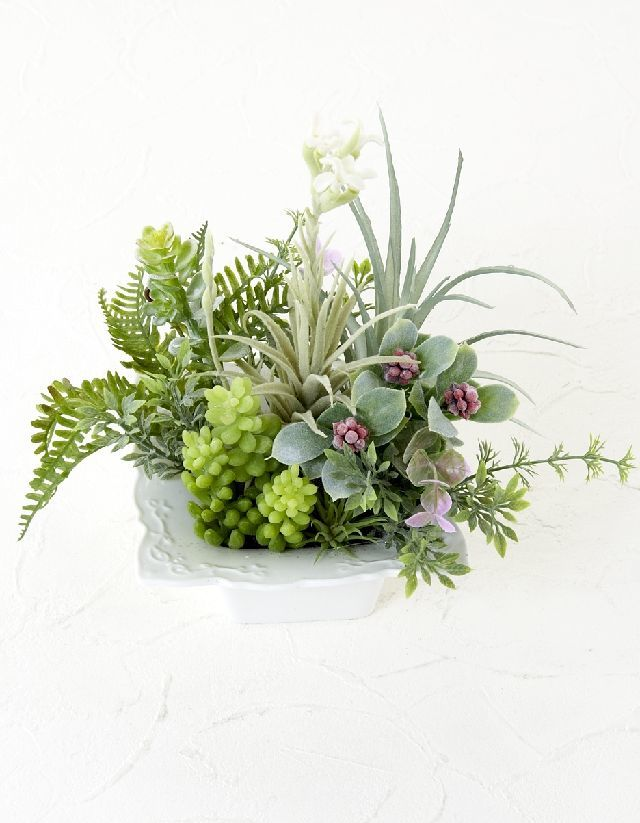 【造花・ナチュラルグリーン・多肉植物・】wild grass arrangement -E
