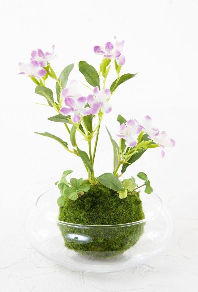 【造花 観葉植物 インテリアグリーン】こけ玉 ジャパニーズモダンアレンジメント(ガラス水盤花器付き)B