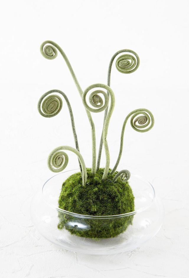 【造花 観葉植物 インテリアグリーン】miniこけ玉 リトルジャパーニーズ(下皿付き)N