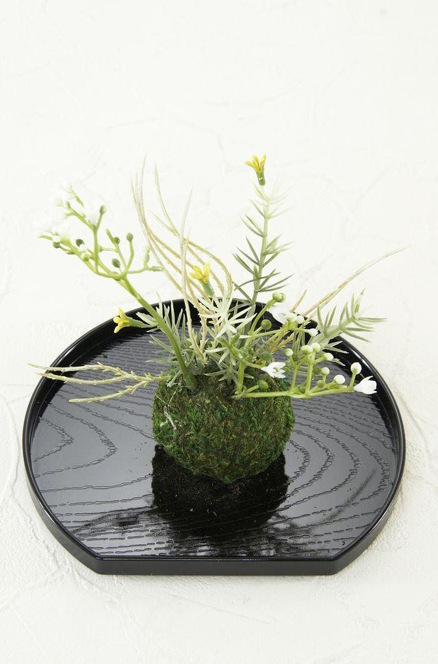 【造花 観葉植物 インテリアグリーン】こけ玉 ジャパーニーズモダンJ(下皿付き)