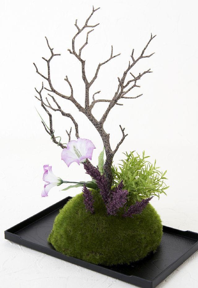 【造花 観葉植物 インテリアグリーン】こけ玉 ジャパーニーズモダンM(下皿付き)